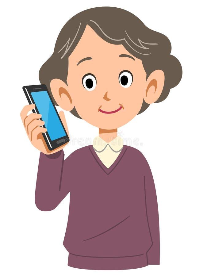给资深中间年迈的上半方打电话的妇女 库存例证