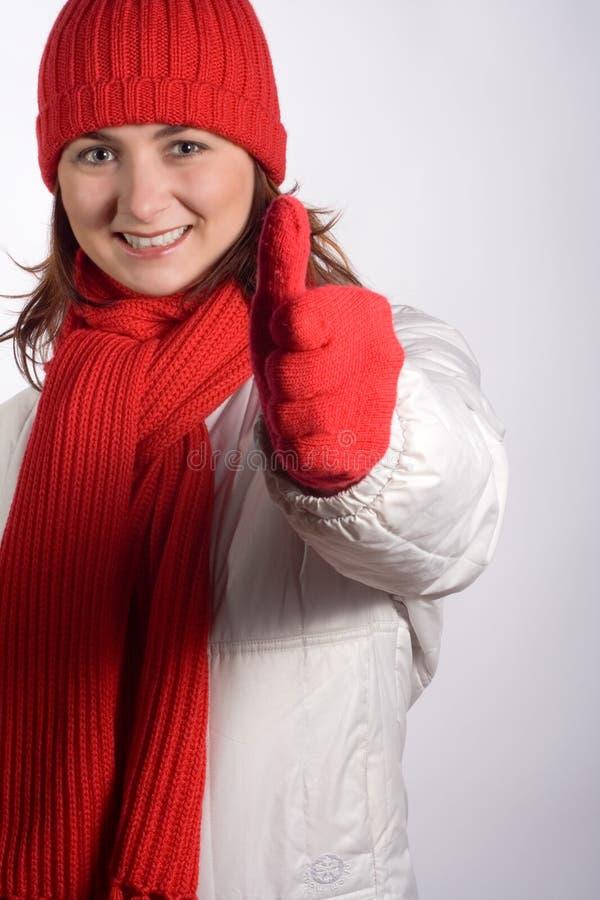 给赞许冬天妇女穿衣 库存照片