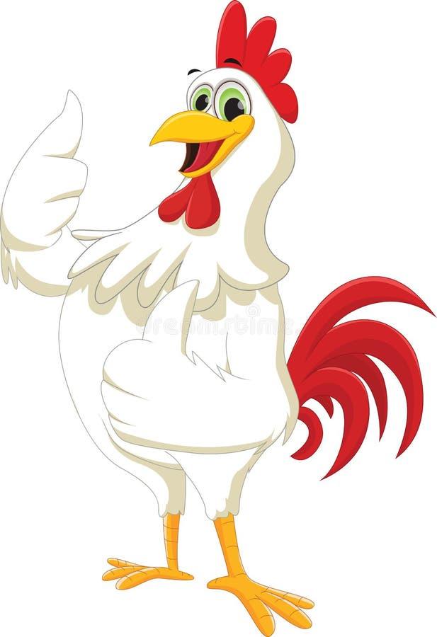 给赞许的愉快的雄鸡动画片 库存例证