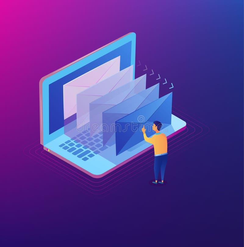 给通知等量概念发电子邮件 等量现代邮件 在膝上型计算机屏幕上的电子邮件营销 r 库存例证