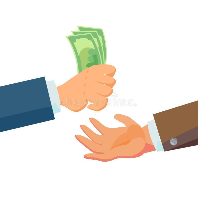 给金钱传染媒介的商人手 推销员代理和所有者 开户财务销售概念 平的企业动画片 库存例证