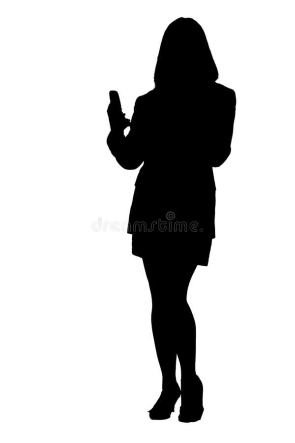 给texting的妇女打电话的商业 库存照片