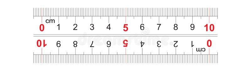 统治者双向双支持100毫米,10厘米 分裂价格是1 mm 定标栅格 库存例证