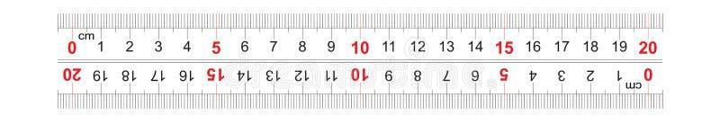 统治者双向双支持200毫米,20厘米 分裂价格是1 mm 定标栅格 向量例证