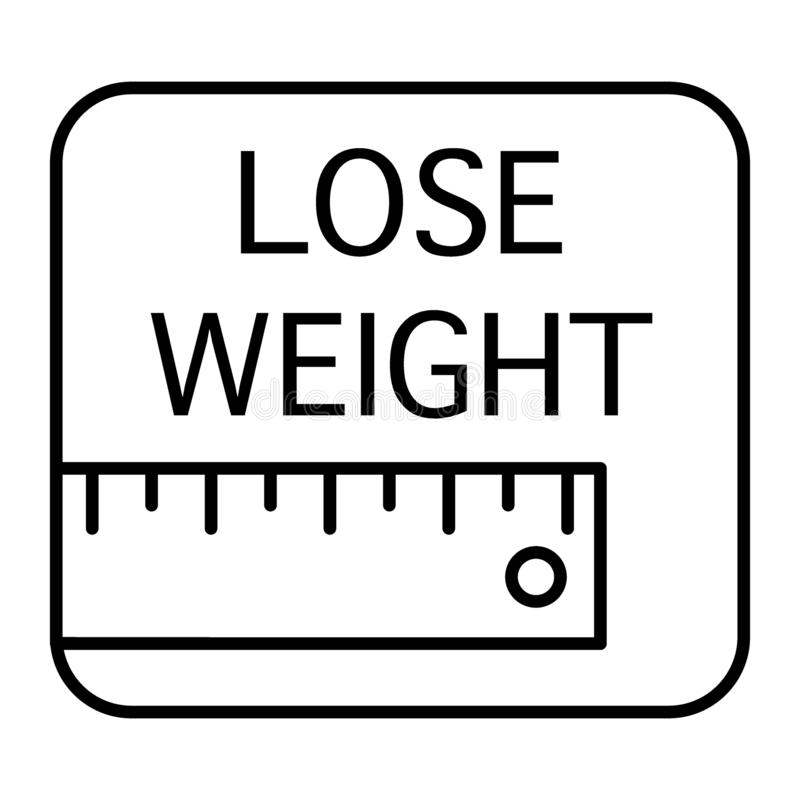 统治者和丢失重量题字稀薄的线象 在白色隔绝的测量的磁带传染媒介例证 措施概述 皇族释放例证