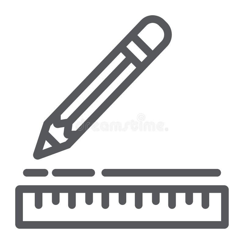 统治者和铅笔线象,仪器和学校,制图仪标志,向量图形,在白色的一个线性样式 向量例证