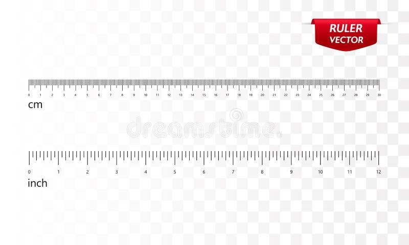 统治者设置了,英寸和厘米 ?? 库存例证