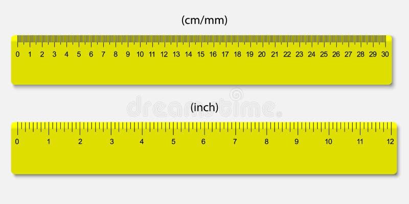 统治者,标记在厘米和英寸 向量例证