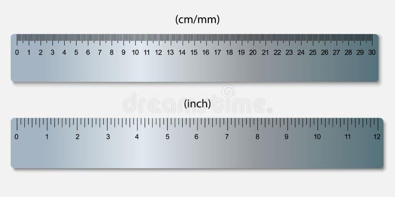 统治者,标记在厘米和英寸 库存例证