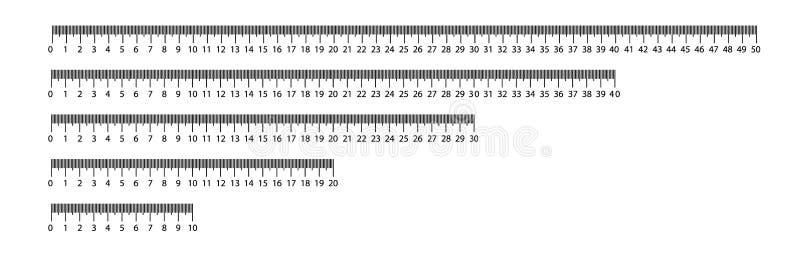 统治者10,20,30,40,50 cm 评定的工具 统治者毕业 统治者栅格cm 大小显示单位 公尺厘米 向量例证