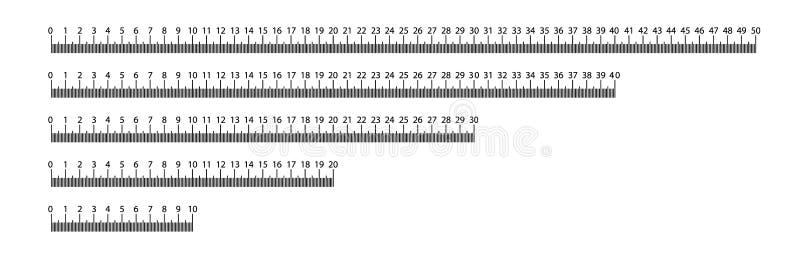 统治者10,20,30,40,50 cm r 统治者毕业 统治者栅格cm 大小显示单位 公尺厘米 库存例证