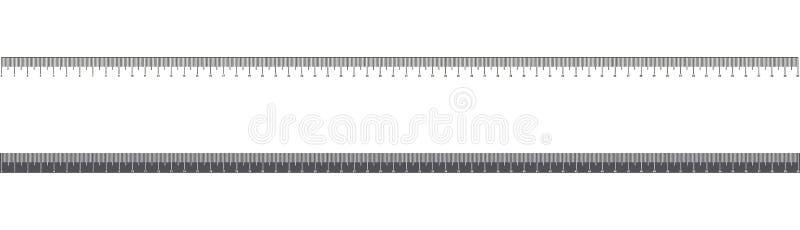 统治者60cm 工具或测量刻度 接近的指南针分度器学校用品 金属统治者在毫米 向量例证