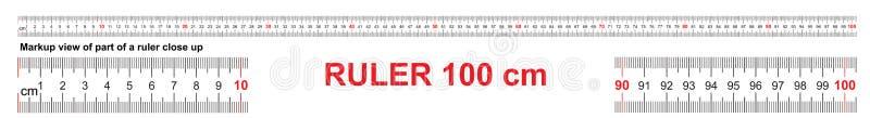 统治者100 cm 精确测量的工具 统治者标度1米 统治者栅格1000 mm 公尺厘米大小显示 库存例证