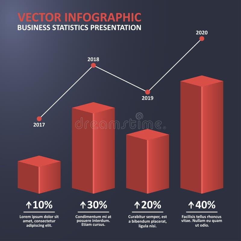 统计与3d长条图和点图的企业图 统计infographic与以百分比步和进展 向量 皇族释放例证