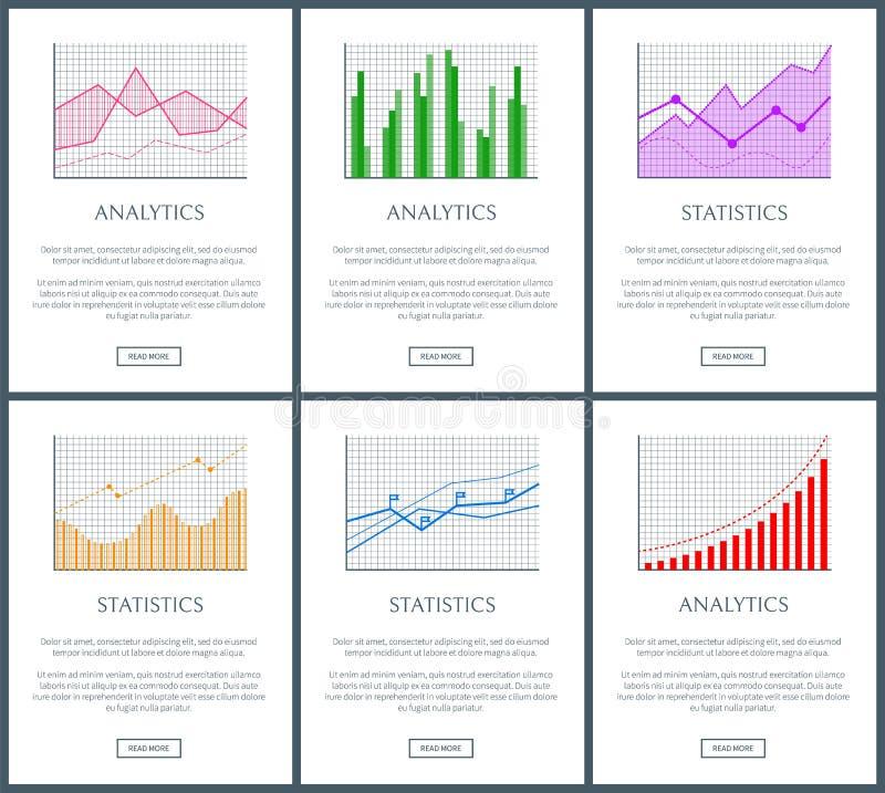 统计图和逻辑分析方法被设置的颜色图 库存例证