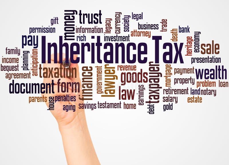 继承税词云彩和手有标志概念的 免版税库存图片