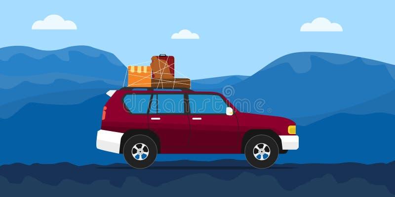 继续前进有蓝色山的卡车房子路作为背景 库存例证