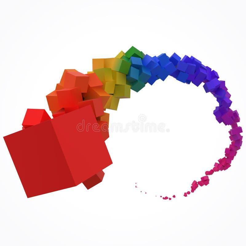 继续前进空气的五颜六色的立方体冲程  3d样式传染媒介例证 库存例证