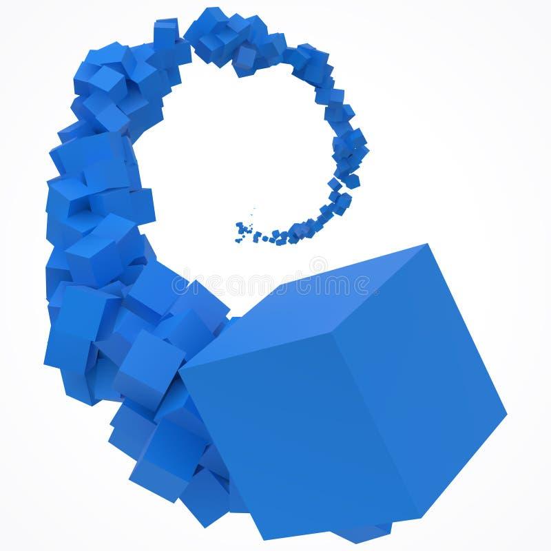 继续前进空气的蓝色立方体冲程  3d样式传染媒介例证 向量例证