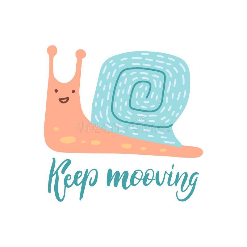 继续移动字母报价 平手绘制的蜗牛矢量图插图 用于排版海报、卡片、标签、 库存例证