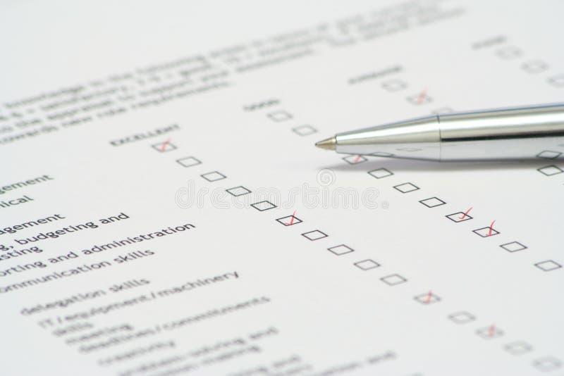 绩效复核 免版税库存图片