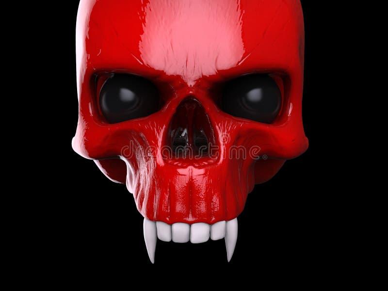 绯红有白色牙的吸血鬼头骨 向量例证