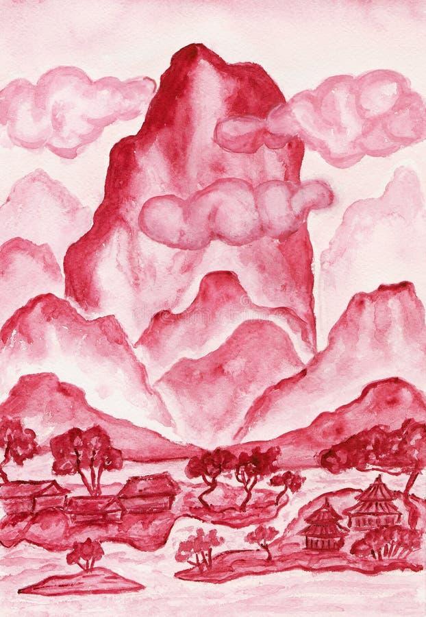 绯红色小山绘 库存例证