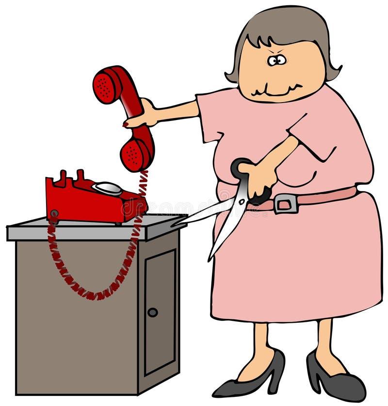 绳子剪切电话 向量例证