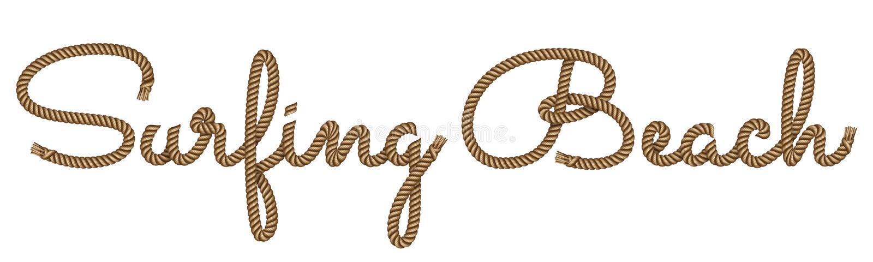 绳索手拉的字法 库存例证