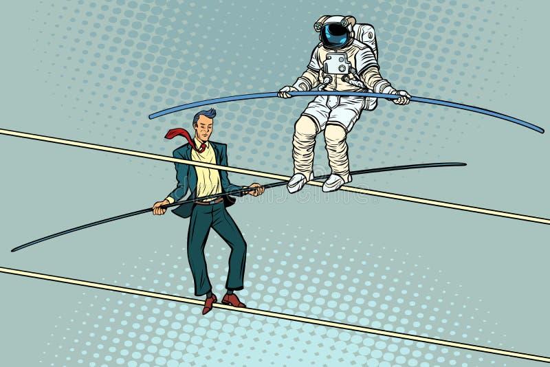 绳索步行者杂技演员商人和宇航员 向量例证