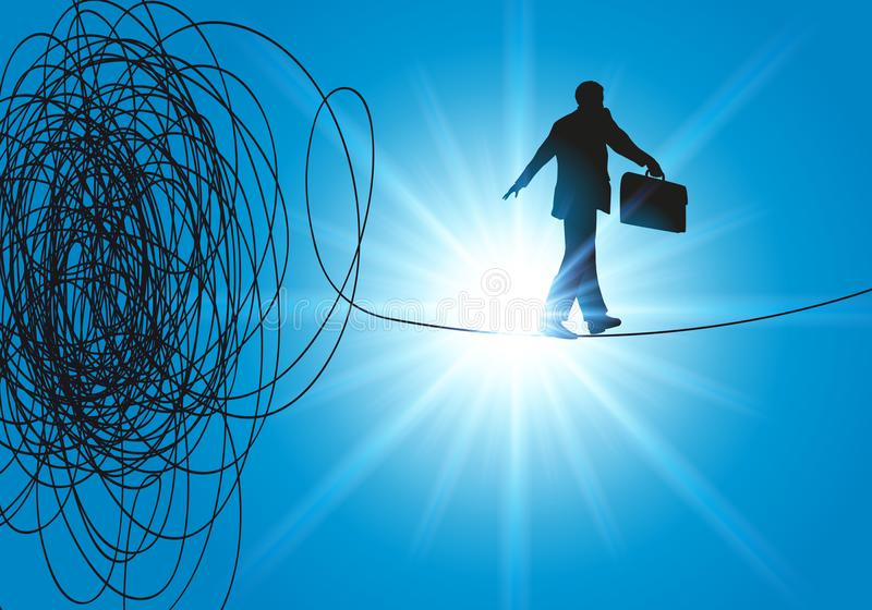绳索领导发现挑战的解答离开危机 库存例证