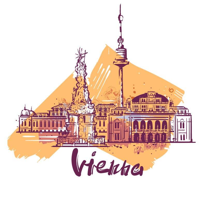 维也纳抽象颜色图画 维也纳剪影传染媒介例证 库存例证