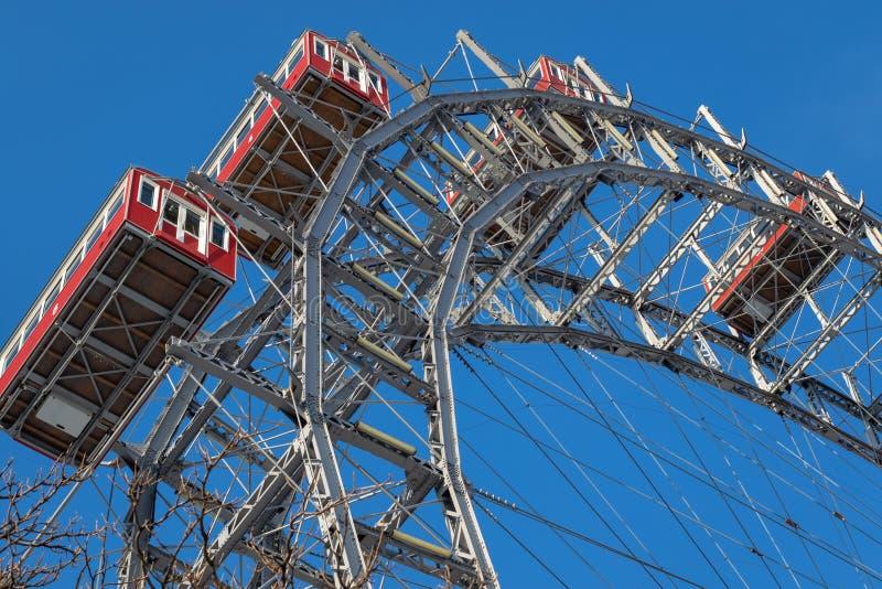 维也纳摩天轮-维也纳巨型在维也纳弗累斯大转轮公园普拉特公园 免版税库存图片