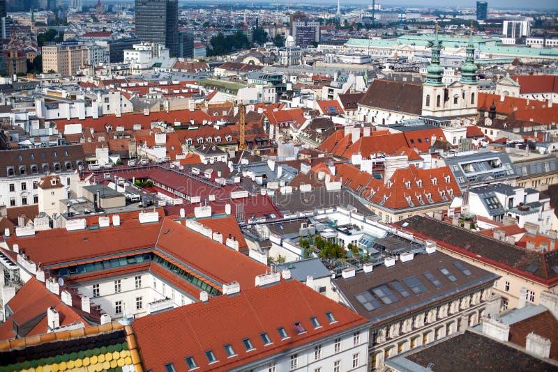 维也纳首都都市风景在奥地利,看法从上面在历史的市中心 免版税库存图片