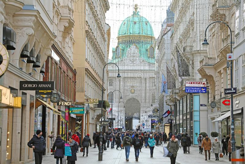 维也纳,奥地利- 2019年1月8日:有Hofburg的Kohlmarkt街道在与游人的背景冬时的 免版税图库摄影