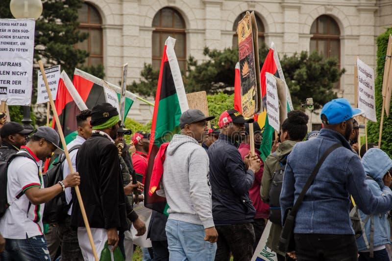 维也纳/奥地利/Mai 30日2019年:Biafrans抗议在反对尼日利亚人的奥地利 免版税库存图片