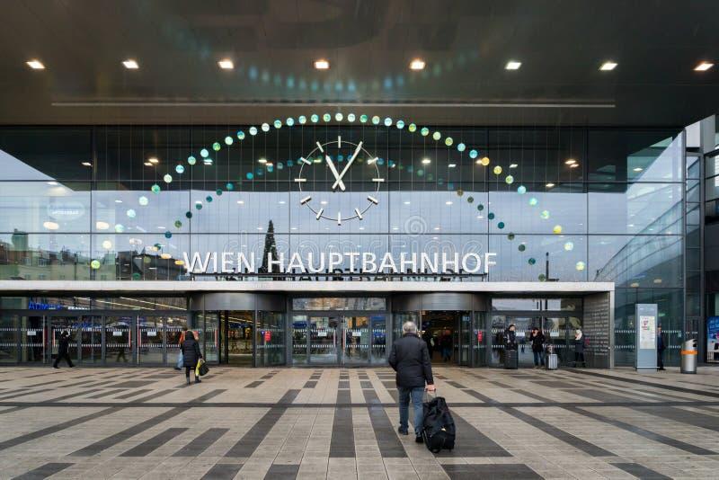 维也纳Hauptbahnhof火车站入口 免版税图库摄影