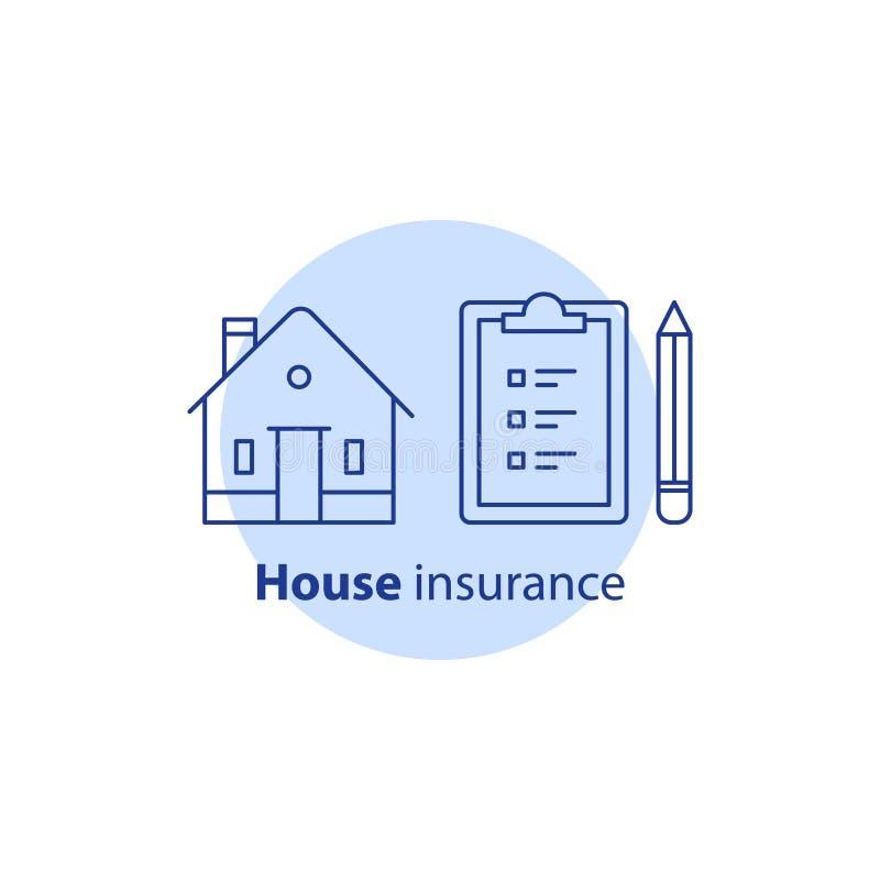 维修业务、房子保险单、整修合同、剪贴板清单和铅笔,不动产所有权 向量例证