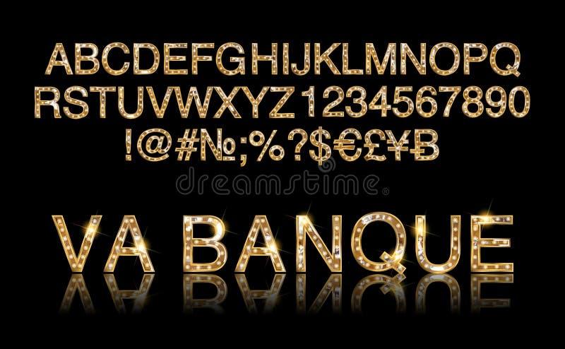 维加斯赌博娱乐场或减速火箭的百老汇样式夜字体 皇族释放例证