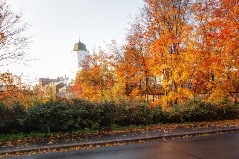 维堡城堡在维堡,列宁格勒地区,俄罗斯 古老堡垒的看法在海岛上的在秋天 免版税图库摄影