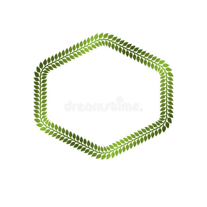 维多利亚女王时代的与使用花卉装饰和绿色叶子被创造的空白的拷贝空间的艺术传染媒介六角框架 纹章学模板 库存例证