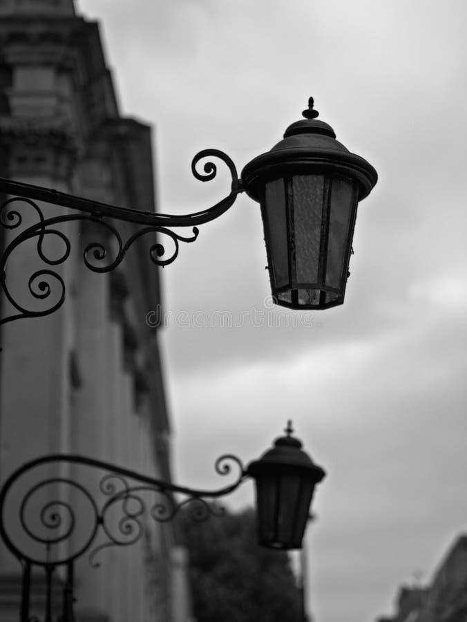 维多利亚女王时代的街灯特写镜头  库存照片