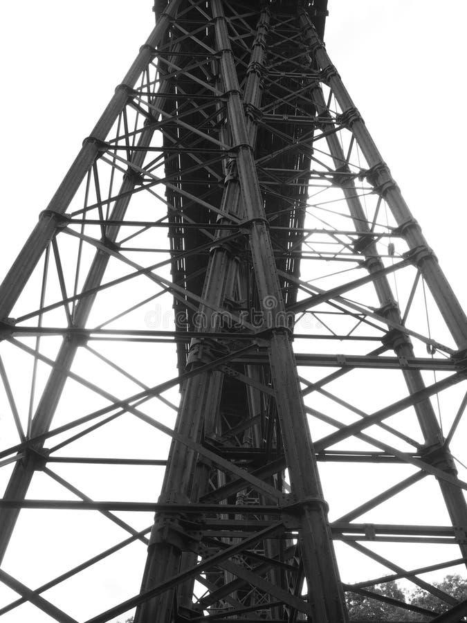 维多利亚女王时代的锻铁Meldon高架桥、废弃的铁路线和一部分的花岗岩方式, Dartmoor 免版税库存照片