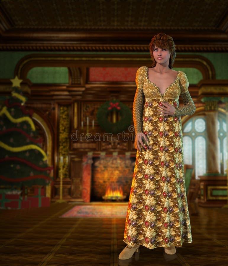 维多利亚女王时代的长的摄政礼服的圣诞节季节美丽的贵族妇女 向量例证