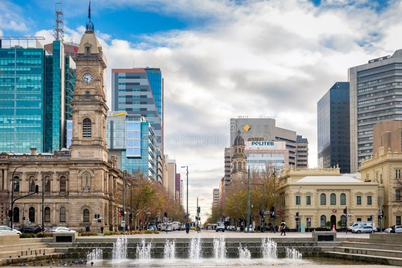 维多利亚广场,阿德莱德CBD,南澳大利亚 免版税库存照片