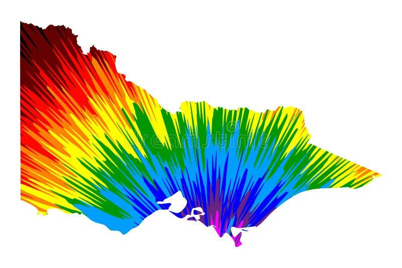 维多利亚澳大利亚国家和疆土,比克地图是被设计的彩虹摘要五颜六色的样式,维多利亚澳大利亚地图做了 向量例证