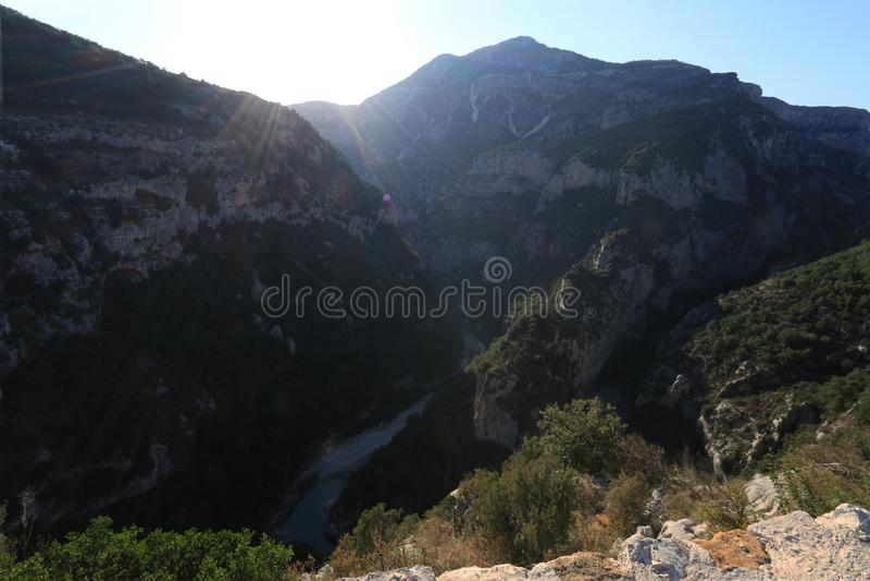 维尔东峡谷在法国普罗旺斯,维尔东du Gorges 免版税库存图片