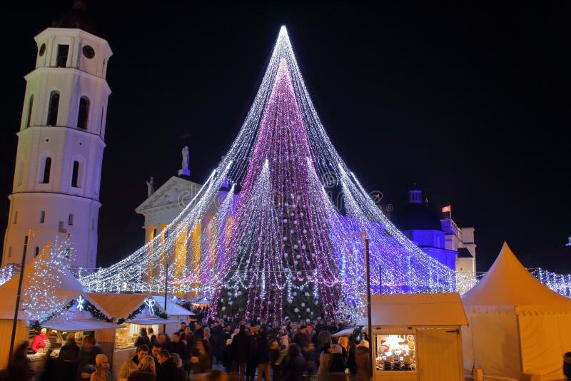 维尔纽斯与市场的新年树 库存图片