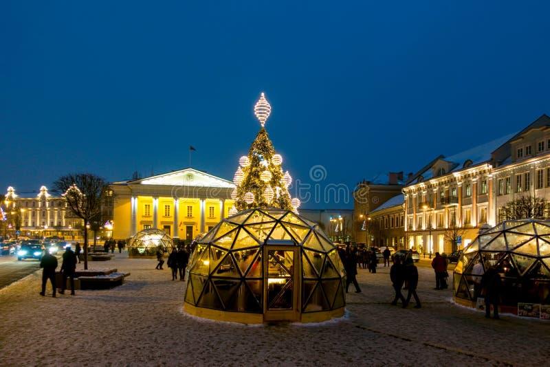 维尔纽斯,立陶宛- 2018年12月02日:圣诞树和圣诞节市场在维尔纽斯城镇厅广场 圣诞节 图库摄影