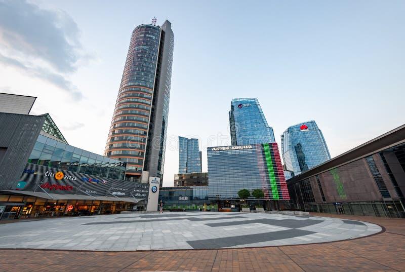 维尔纽斯,立陶宛- 2018年8月10日:维尔纽斯街市与自治市和企业大厦在背景中 立陶宛 免版税库存图片